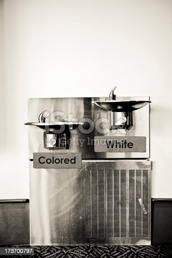 a racist fountain / black and white segregation / a racist concept