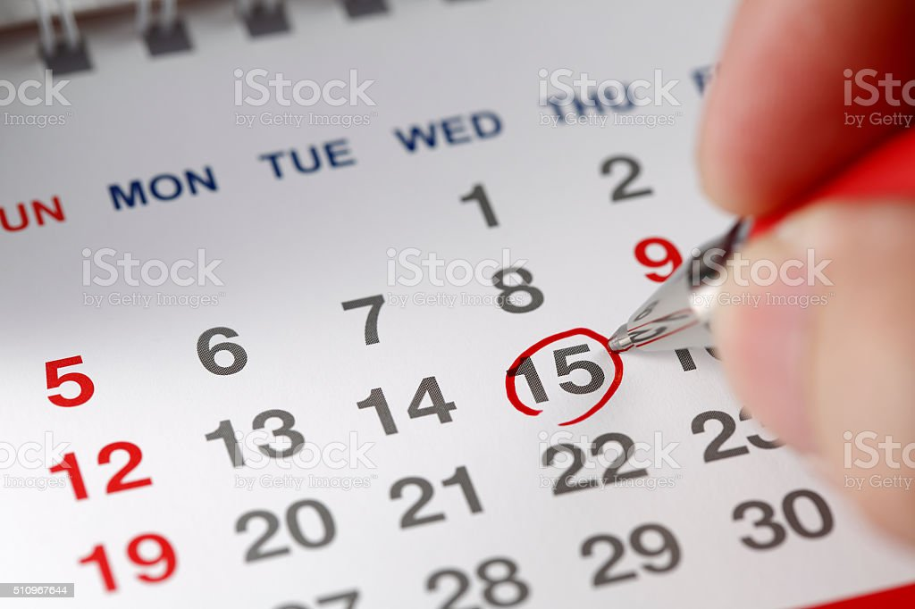 Marked on the calendar stock photo