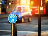 Bike lane symbol and boardwalk way
