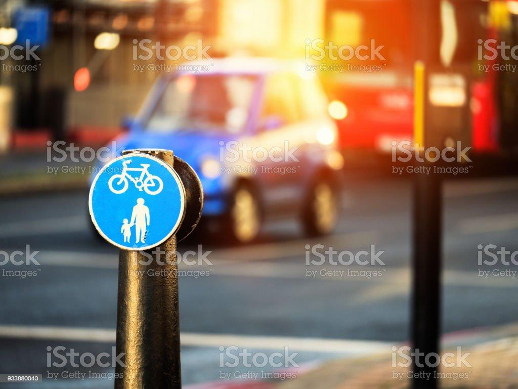 Marker boardwalk and bikeway stock photo