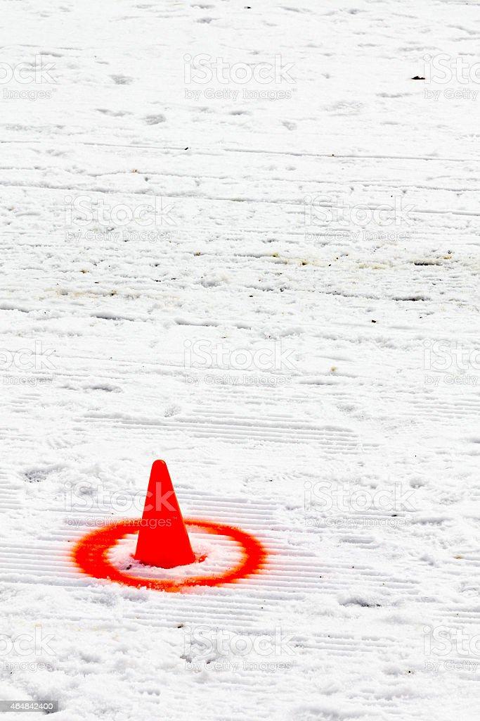 Marker for skijoring competition slalom stock photo