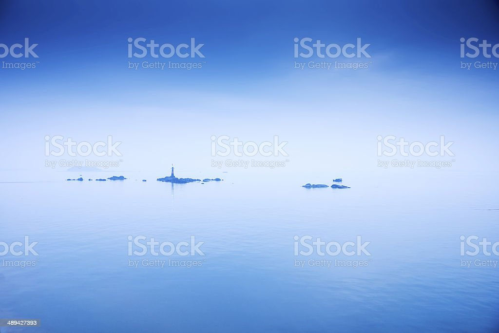 Marker light at sea stock photo
