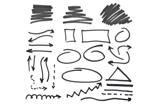 Marker Scribbles on a white background stock photo