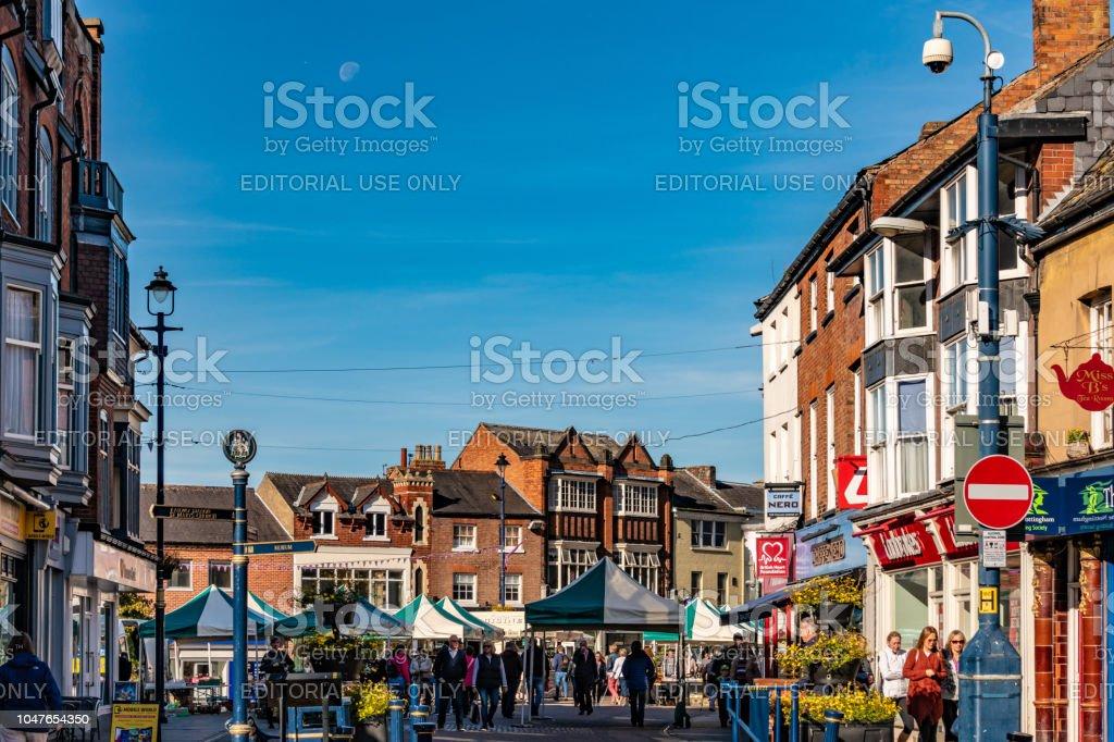 Market and shops in Melton Mowbray stock photo
