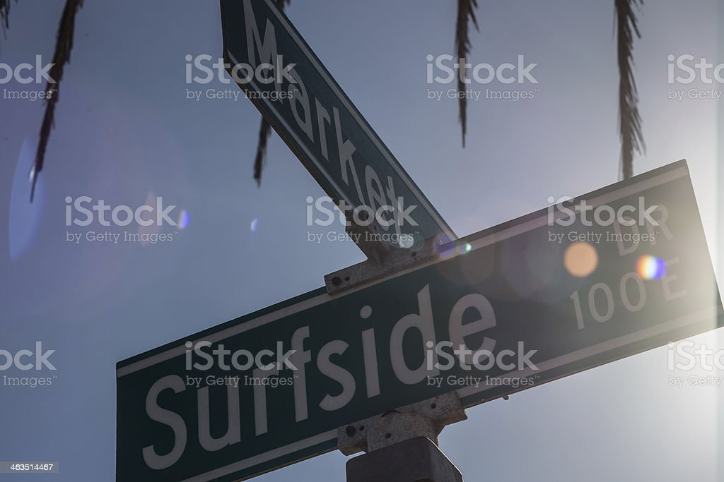 Market and Surfside Sign stock photo