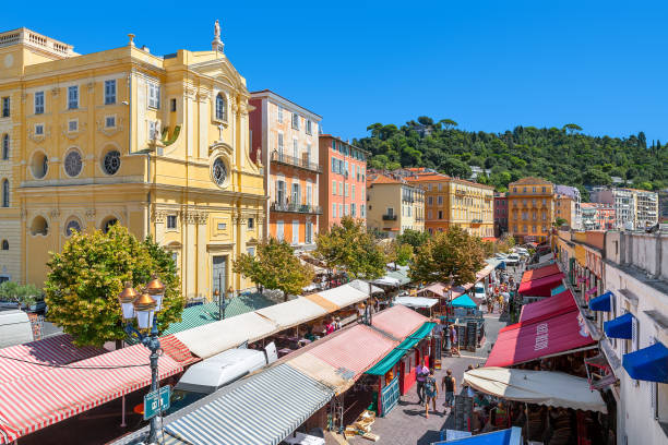 Market at Cours Saleya in Nice, France. stock photo