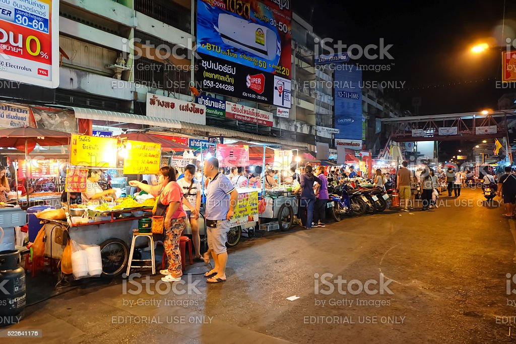 Market at night in Chiang Mai stock photo