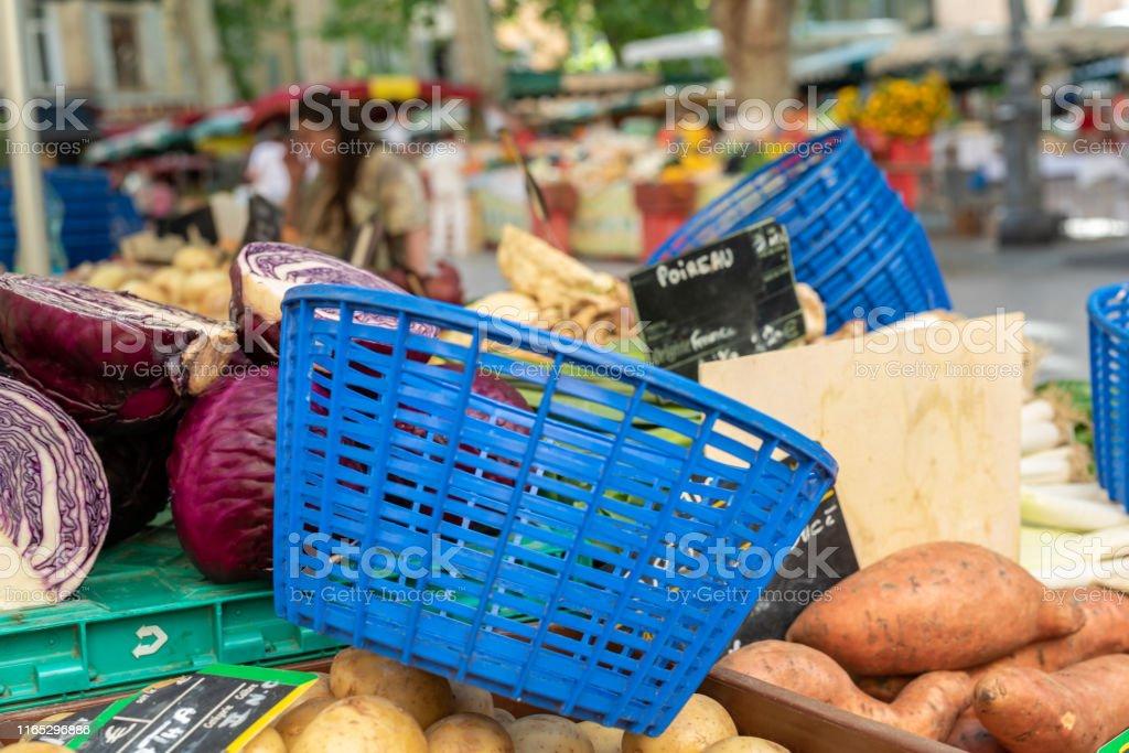 Market basket on stall of food street market at Provence France