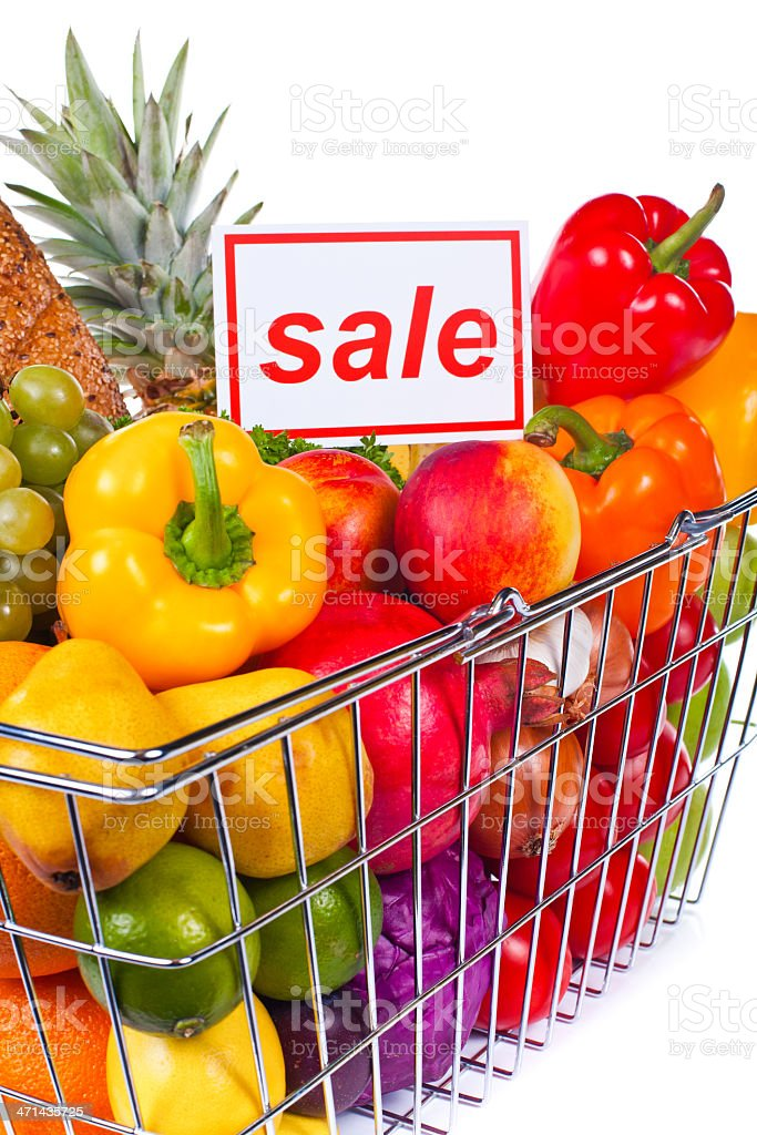 Groceries composition in basket with \