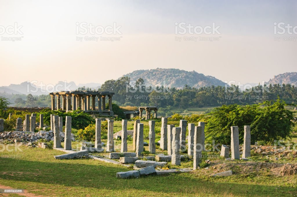 Market complex of Vitthala temple in Hampi, India stock photo