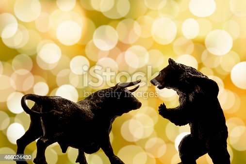 Bull and bear , symbolic beasts of market trend