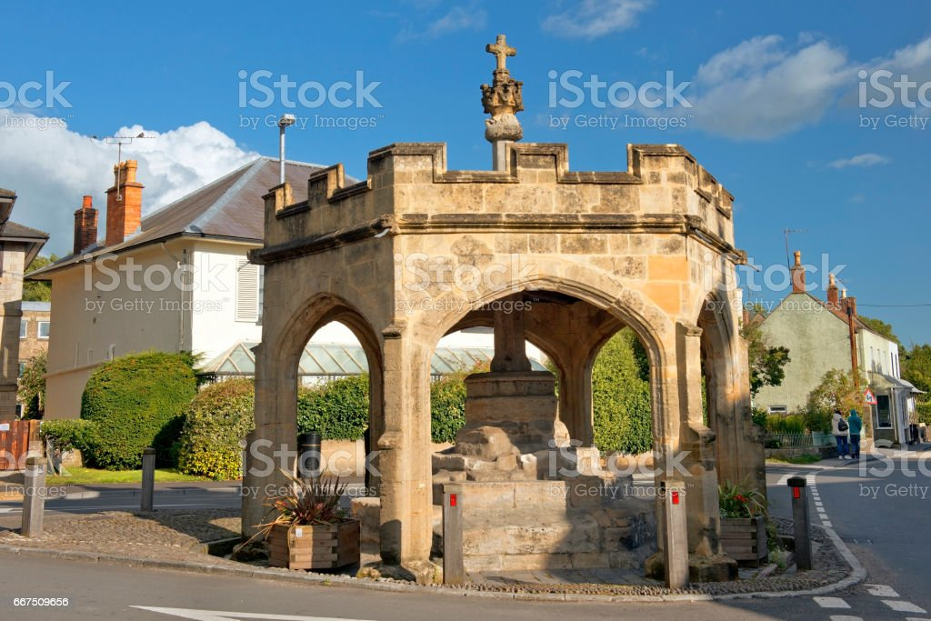 Market Cross, Cheddar village, Somerset, United Kingdom stock photo