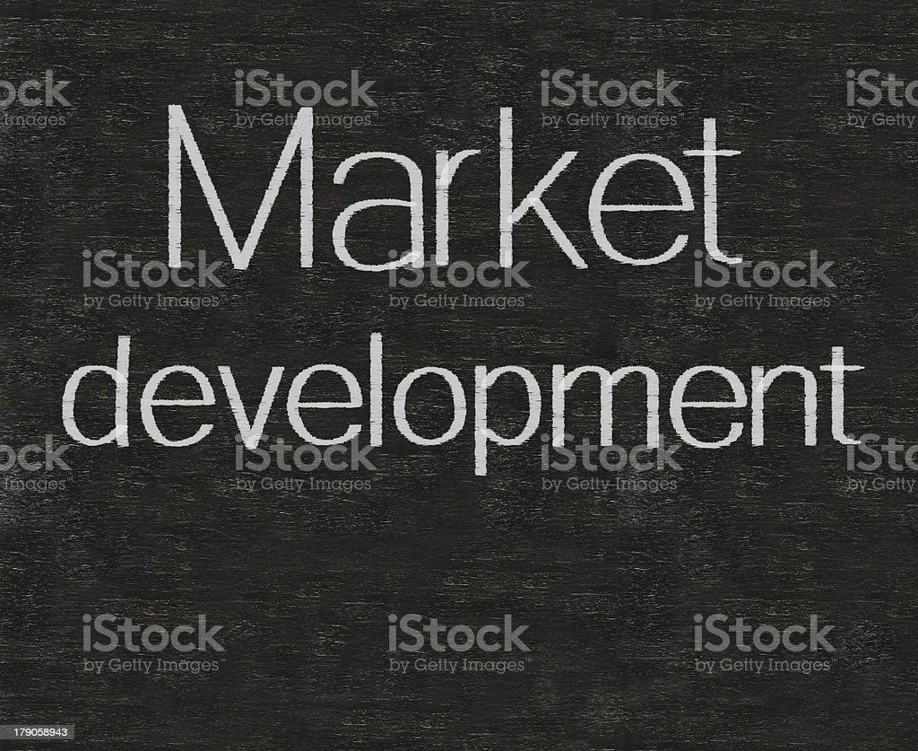 market development marketing terms written on blackboard background...