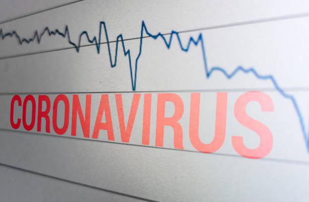 Market fall in stocks with Coronavirus outbreak stock photo