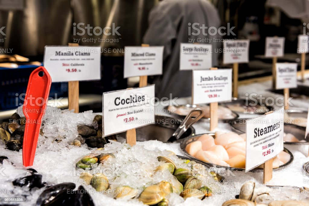 Market food Lobster place shop in Chelsea neighborhood district Manhattan NYC, seafood on display stock photo