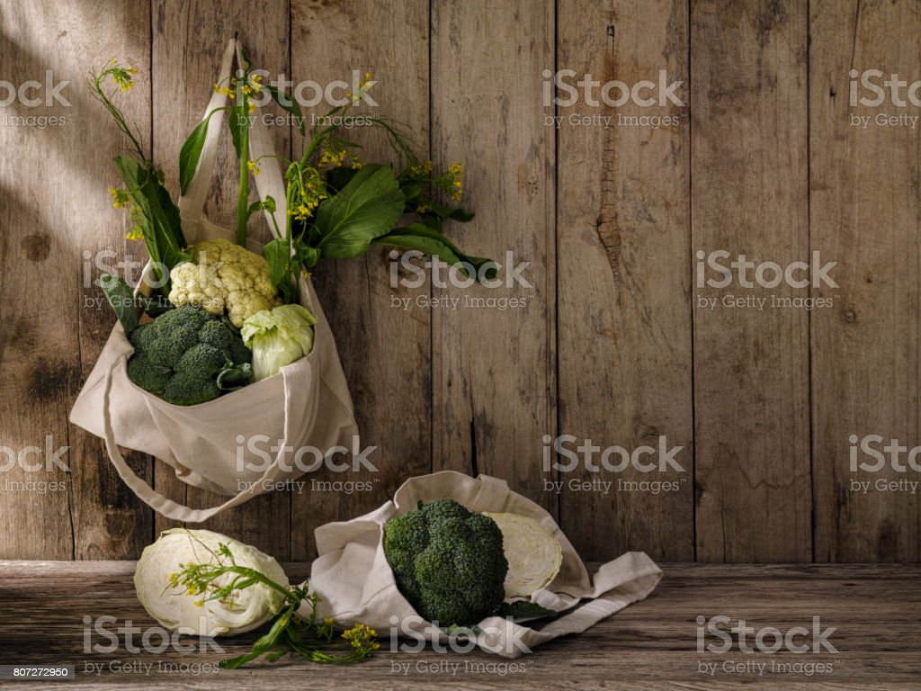 Market fresh green leafy vegetables in a cotton reusable shopping bag...