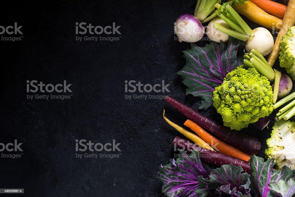 Fond frontière de légumes frais du marché - Photo