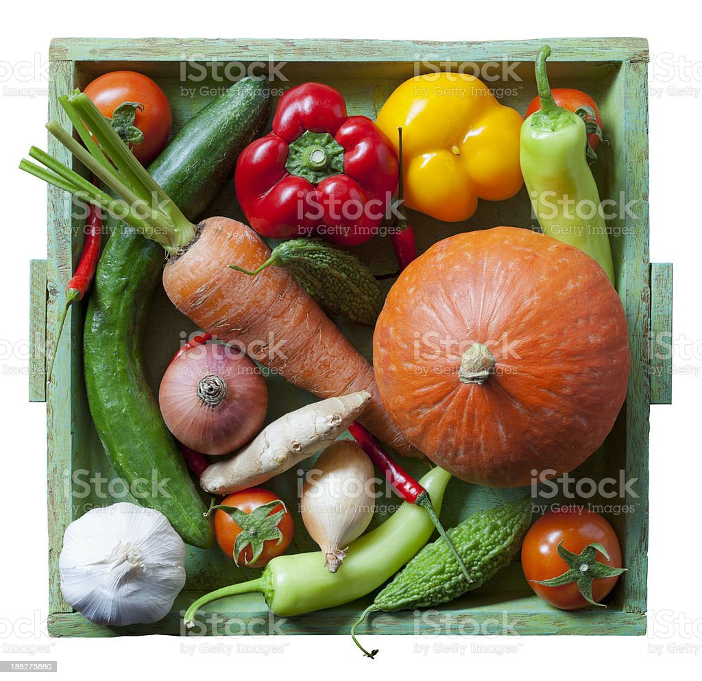 Market fresh vegetables on an old wooden tray. royalty-free stock photo