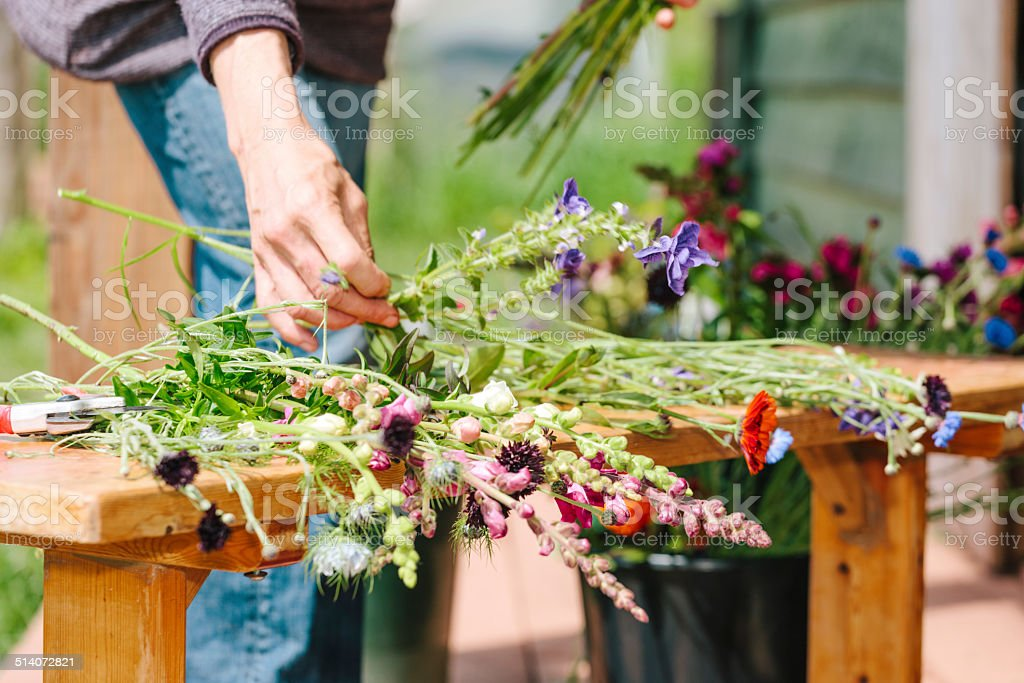 Market gardening, wild flowers stock photo