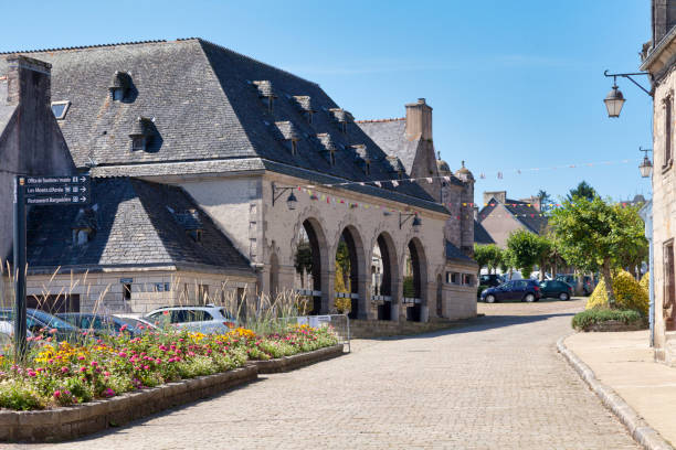 Market hall of Guerlesquin stock photo