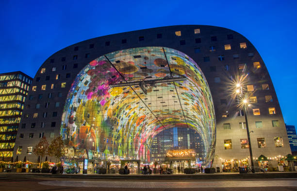 Market Hall The Markthal is a residential and office building with a market hall underneath, located in Rotterdam market hall stock pictures, royalty-free photos & images