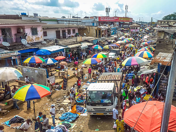 market in africa stock photo
