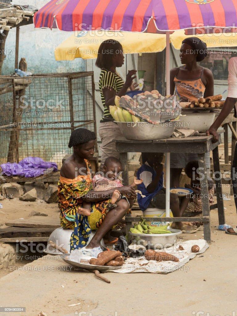 market in ghana stock photo