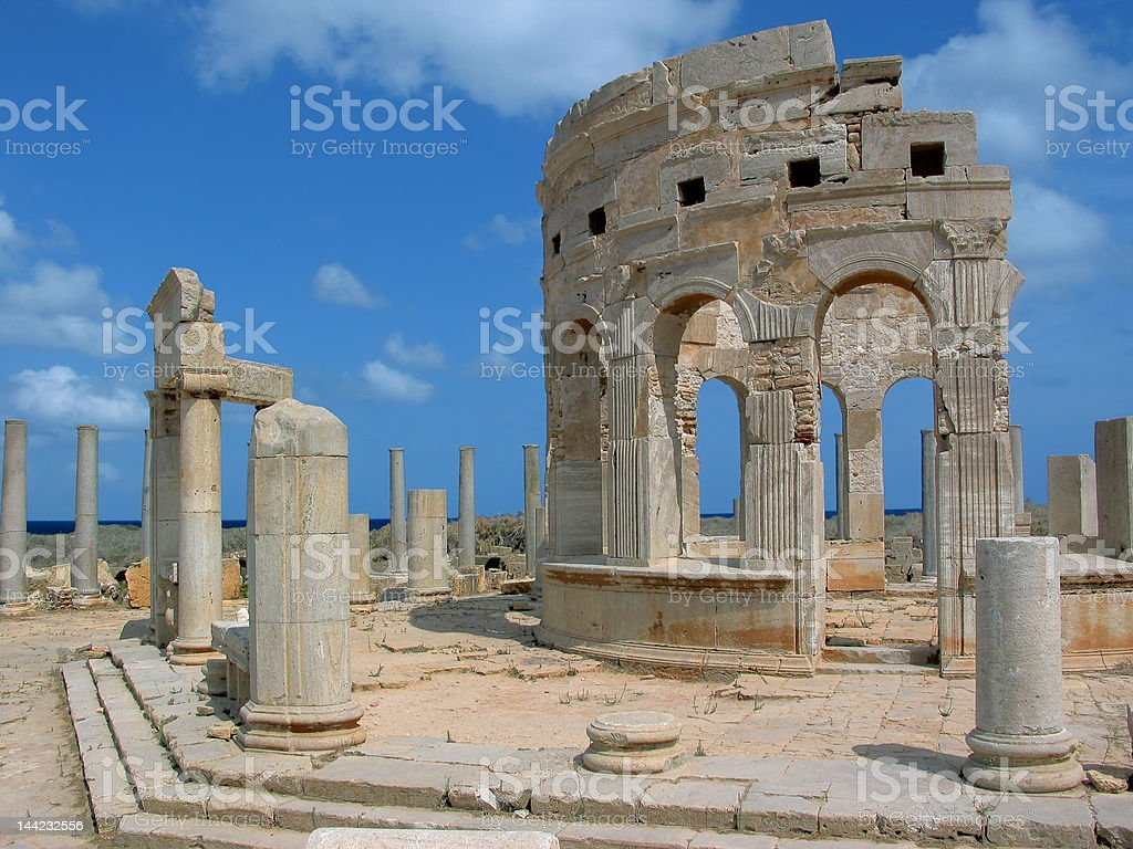Market in Leptis Magna royalty-free stock photo
