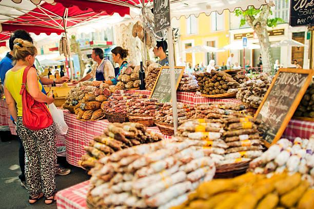marché en provence - aix en provence photos et images de collection