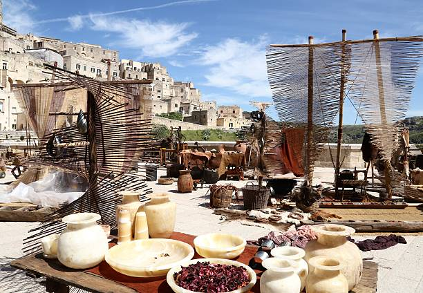 Market in Sassi of Matera Italy Medieval Market in Sassi of Matera Italy matera italy stock pictures, royalty-free photos & images
