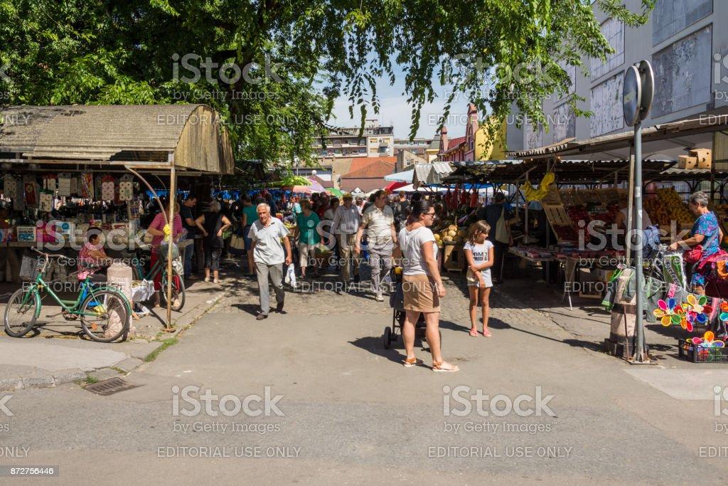 market in the center in Sombor stock photo