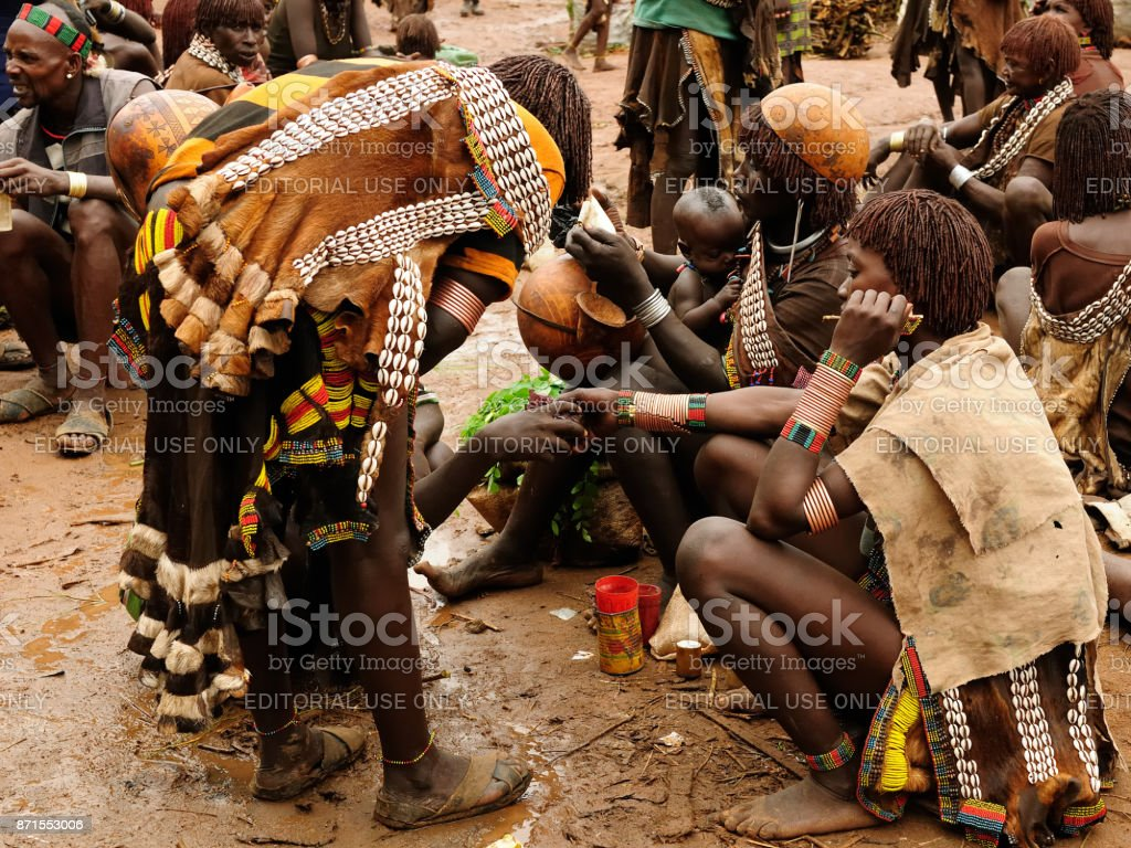 Market in the open air on the Omo valley stock photo