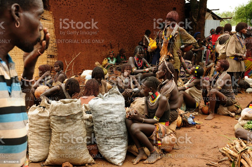 Market in the open air stock photo
