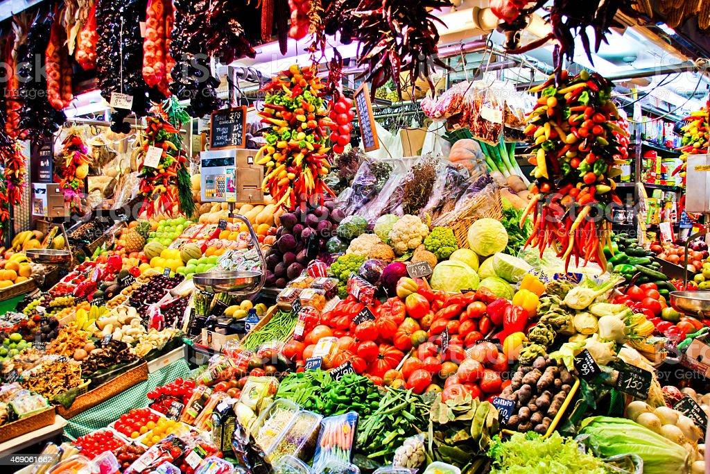 Market la boqueria stock photo
