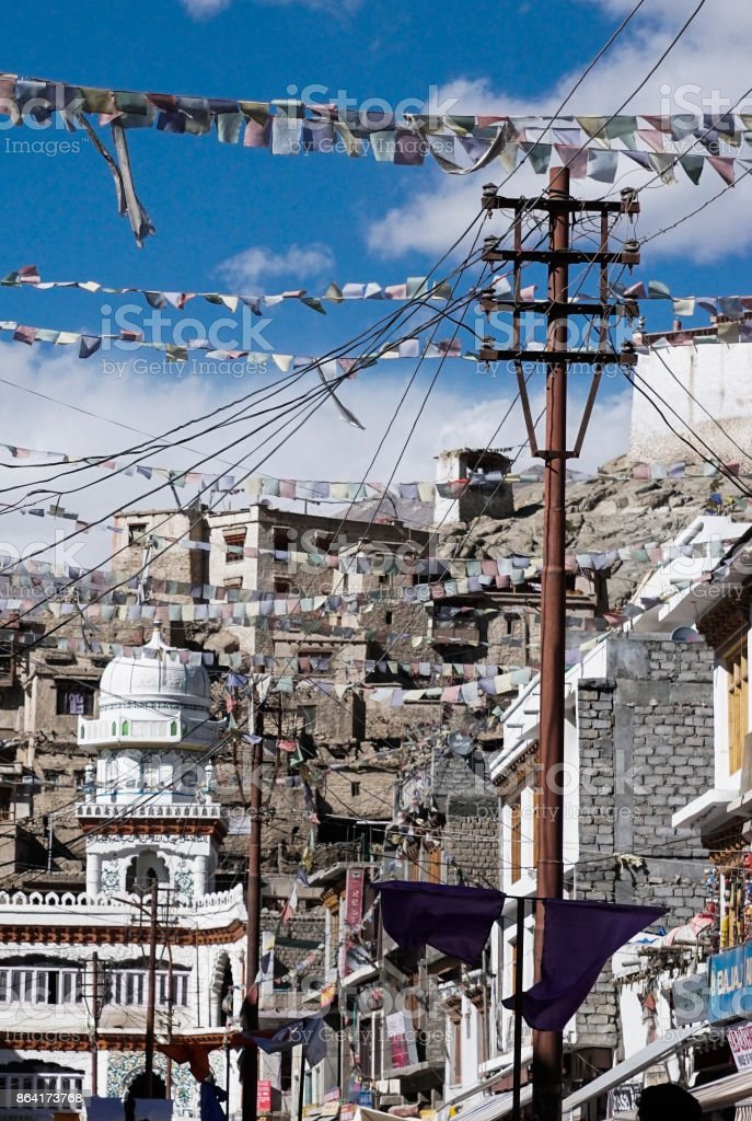 Market of leh ladakh have flag of montra royalty-free stock photo