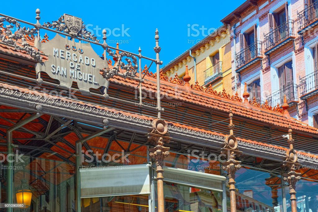 Market of San Miguel (Spanish: Mercado de San Miguel) is a covered market located in Madrid, Spain. Originally built in 1916. stock photo