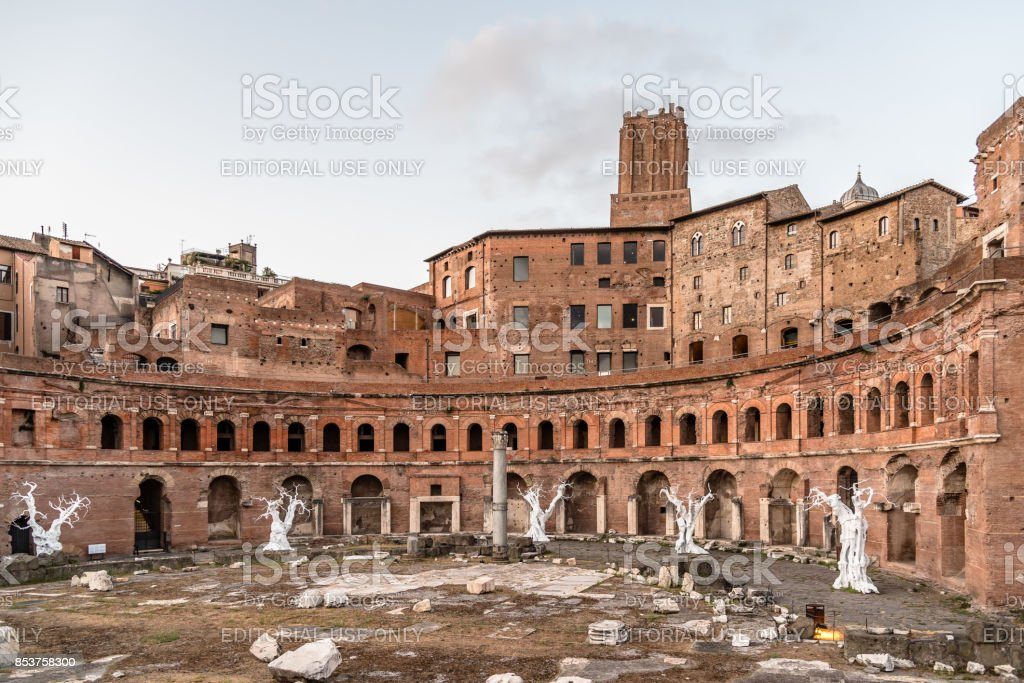 Market of Trajan near the Forum of Augustus in Rome at sunset stock photo