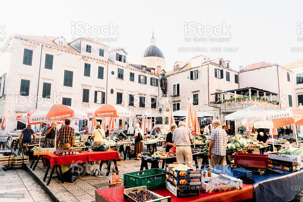 Market on the streets of Dubrovnik stock photo