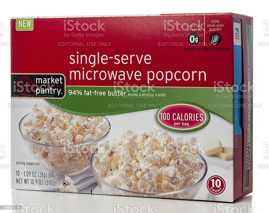 Market Pantry single-serve microwave popcorn box stock photo