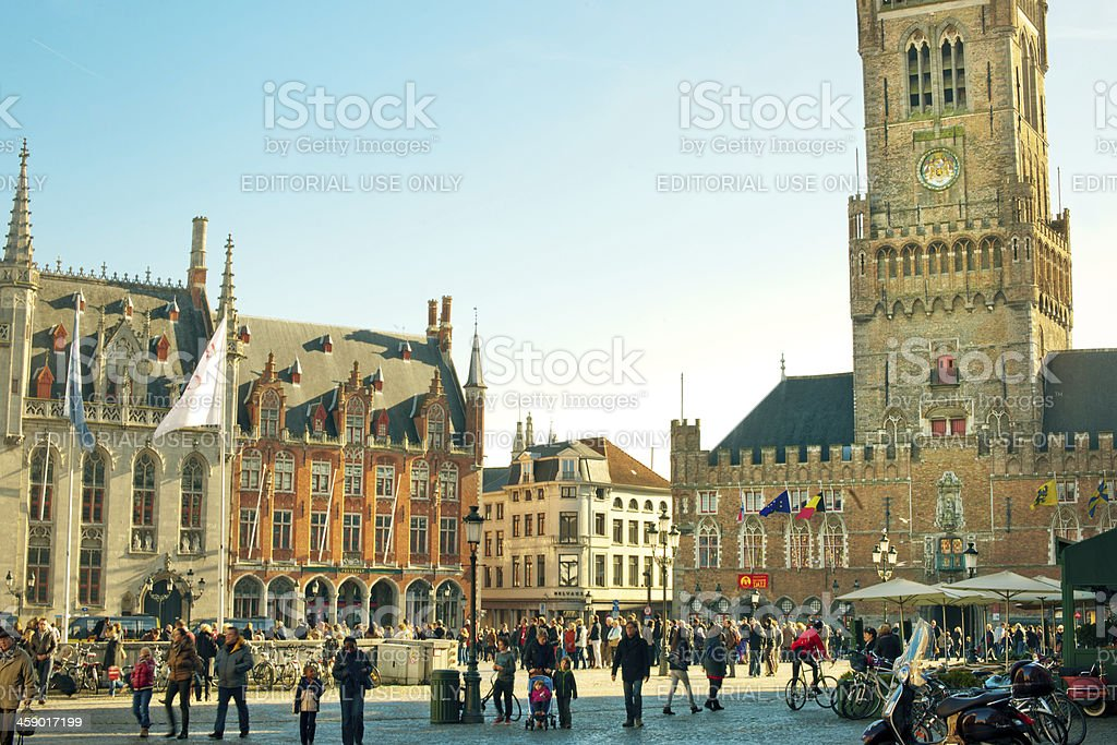 Market Place and Belfry Tower, Bruges, Belgium stock photo