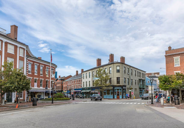 market place and old historic buildings  in Gloucester Gloucester: market place and old historic buildings  in Gloucester , USA. gloucester massachusetts stock pictures, royalty-free photos & images