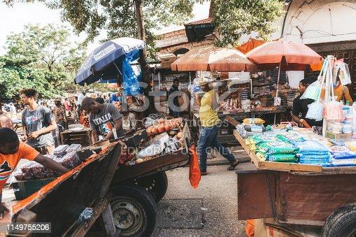Zanzibar, Tanzania - February 21, 2019: various market stalls in Stone Town, Zanzibar