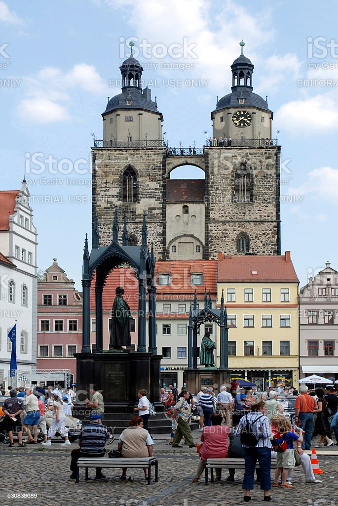 Market place of Wittenberg stock photo
