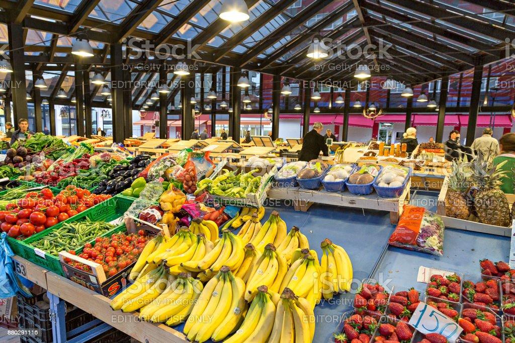 Market place, Tirana, Albania. stock photo