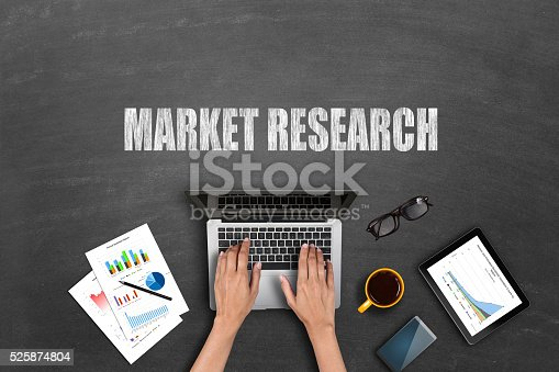 istock Market research business reports on laptop 525874804