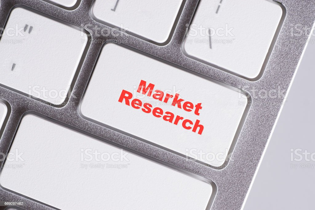 'Market Research' red words on white keyboard - online, education and business concept stock photo