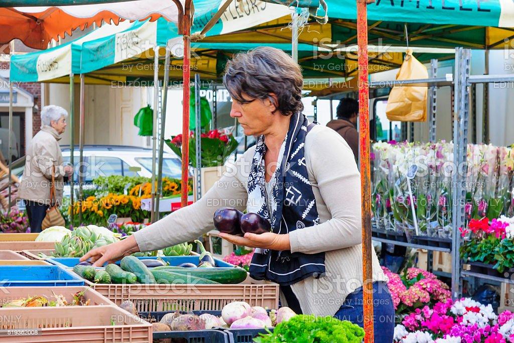 Market scene, Arras stock photo