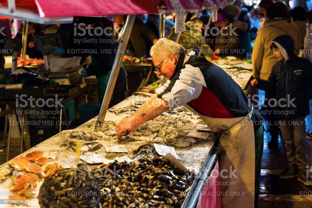 market scene at the Rialto Street Market in Venice,Italy royalty-free stock photo