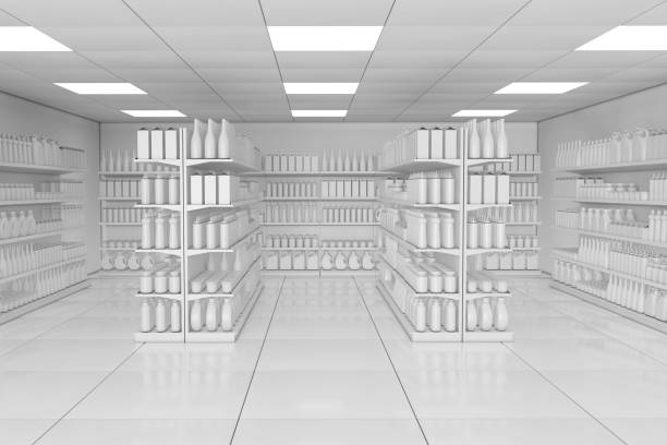 Market Shelving Rack with Blank Products or Goods in Clay Style as Supermarket Interior. 3d Rendering Market Shelving Rack with Blank Products or Goods in Clay Style as Supermarket Interior extreme closeup. 3d Rendering. market retail space stock pictures, royalty-free photos & images