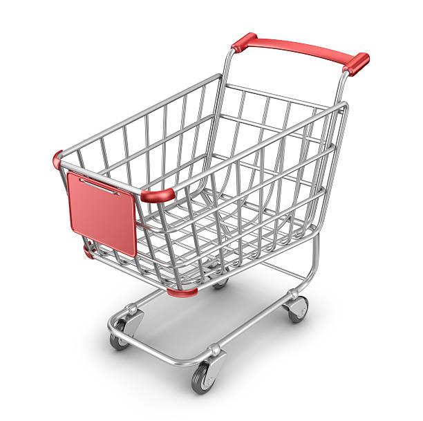 mercato shopping cart 3d. isolato su sfondo bianco - icona supermercato foto e immagini stock